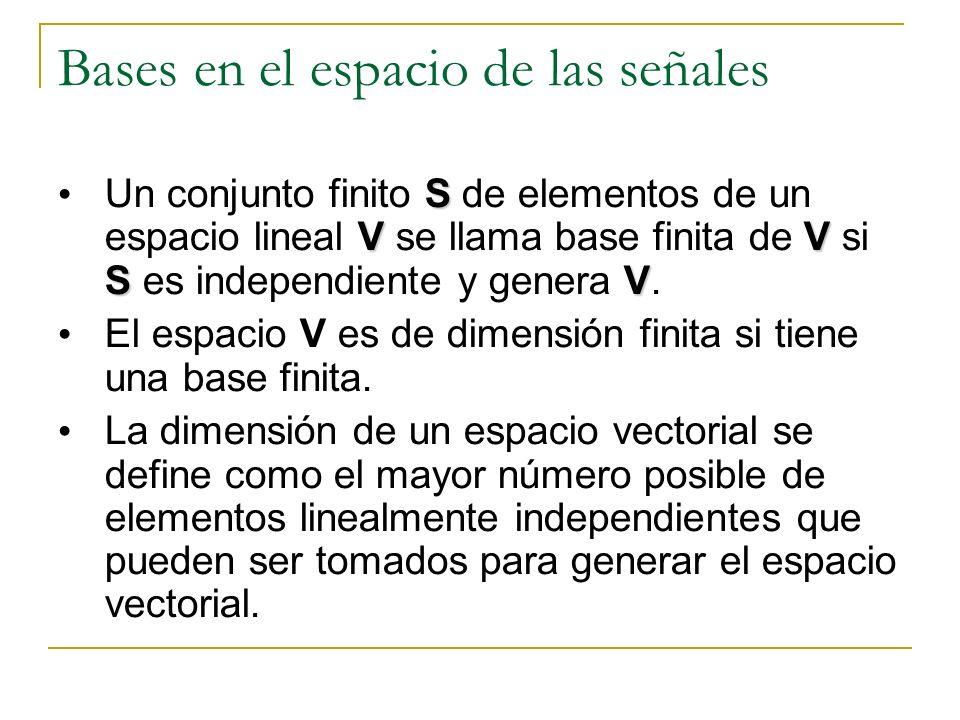 Bases en el espacio de las señales S VV SV Un conjunto finito S de elementos de un espacio lineal V se llama base finita de V si S es independiente y