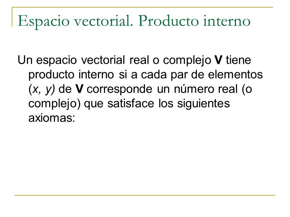 Espacio vectorial. Producto interno V V Un espacio vectorial real o complejo V tiene producto interno si a cada par de elementos (x, y) de V correspon