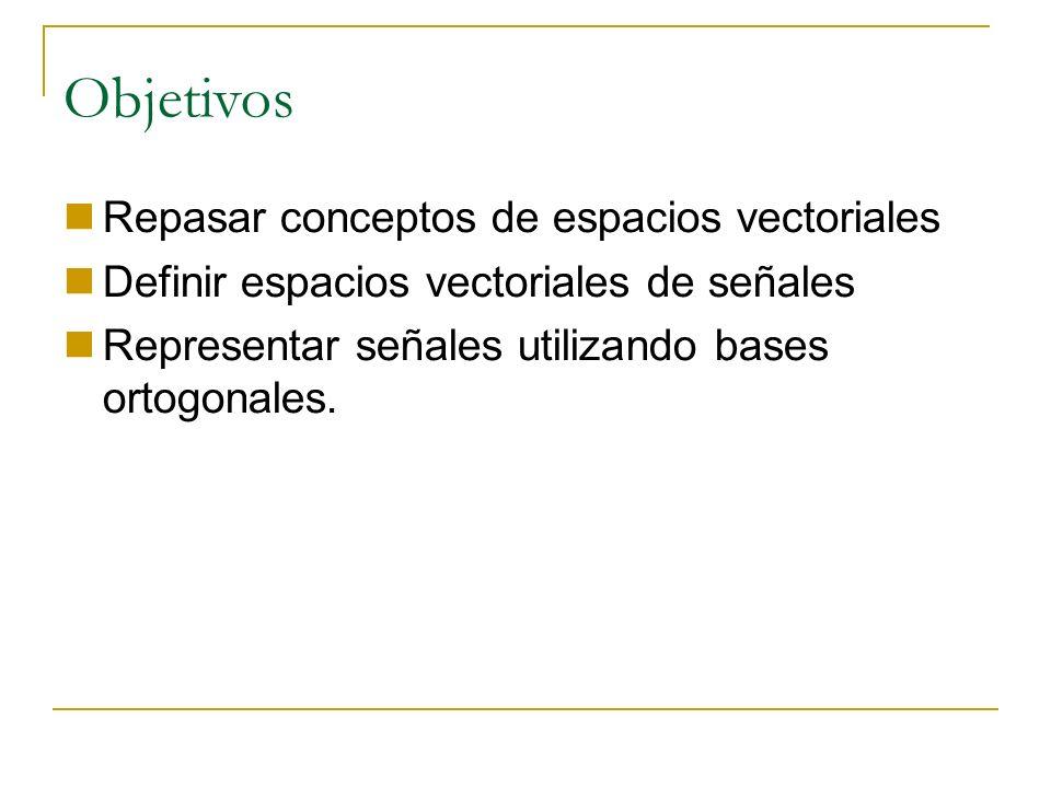 Objetivos Repasar conceptos de espacios vectoriales Definir espacios vectoriales de señales Representar señales utilizando bases ortogonales.
