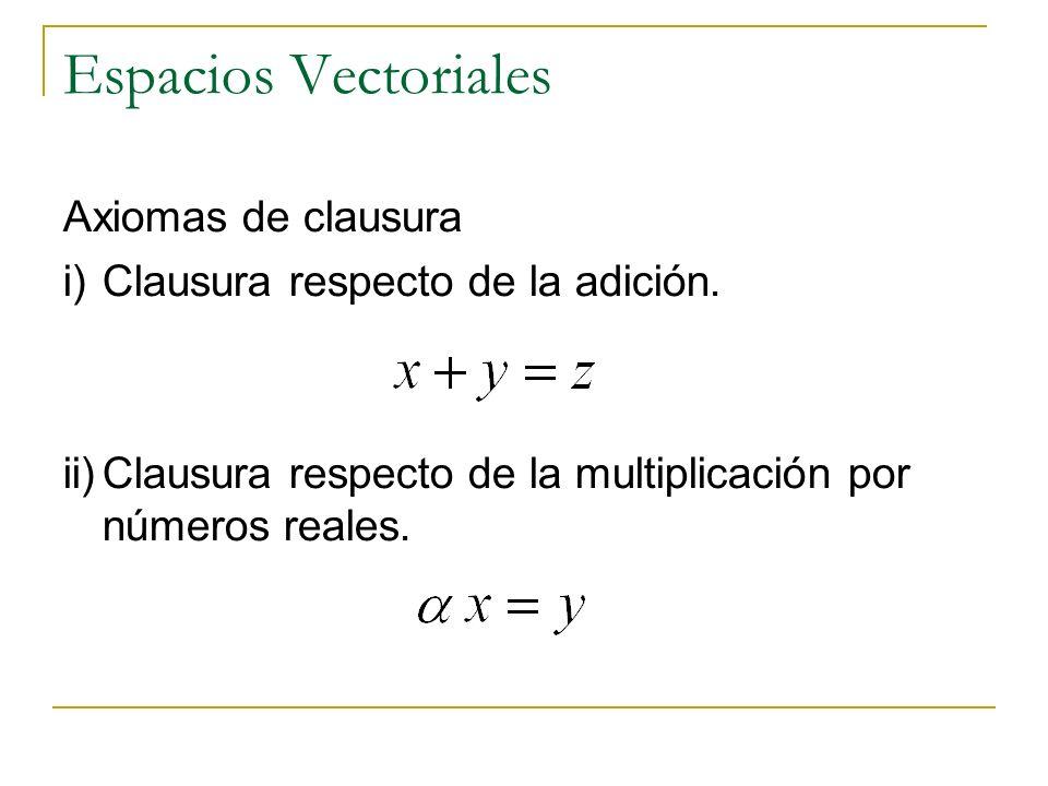 Espacios Vectoriales Axiomas de clausura i)Clausura respecto de la adición. ii)Clausura respecto de la multiplicación por números reales.