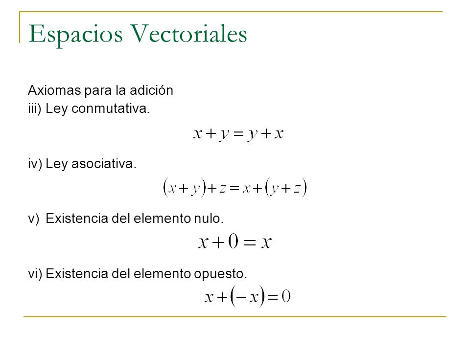 Espacios Vectoriales Axiomas para la multiplicación por números vii)Ley asociativa.