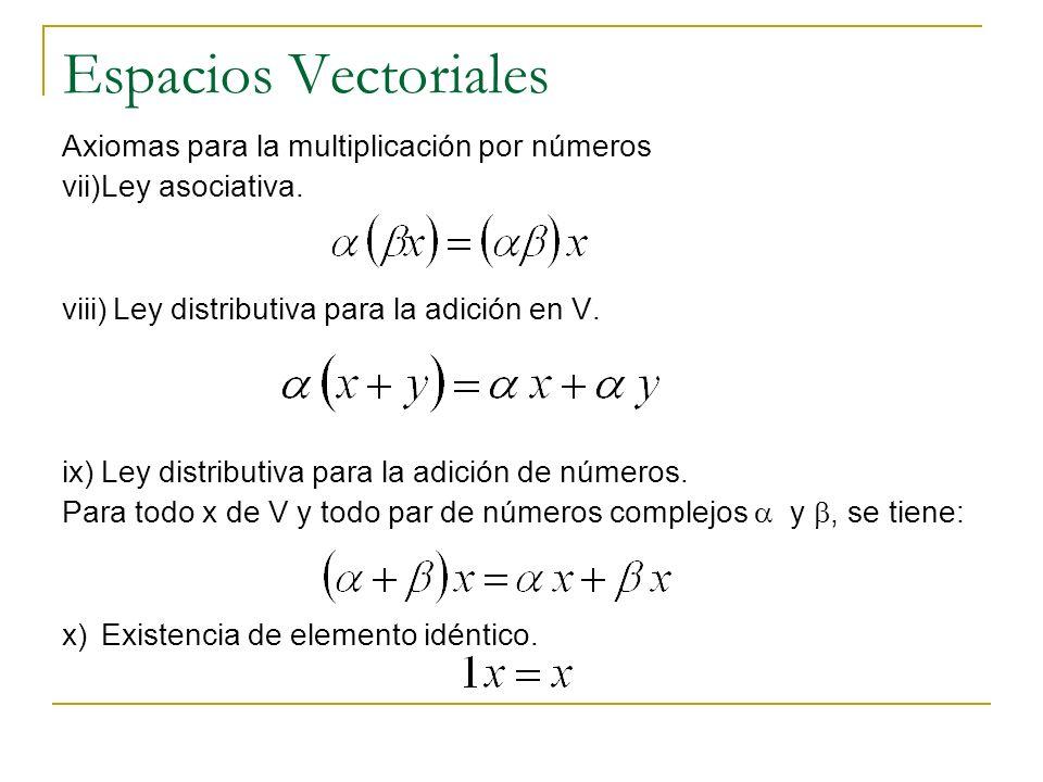 Espacios Vectoriales Axiomas para la multiplicación por números vii)Ley asociativa. viii)Ley distributiva para la adición en V. ix)Ley distributiva pa