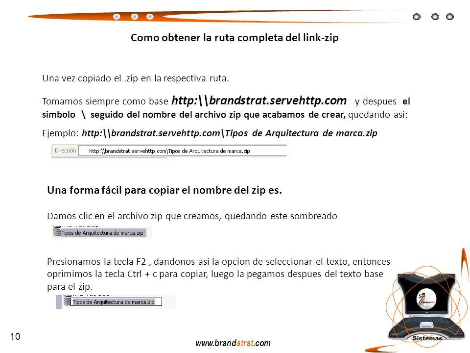 www.brandstrat.com Como obtener la ruta completa del link-zip Una vez copiado el.zip en la respectiva ruta. Tomamos siempre como base http:\\brandstra