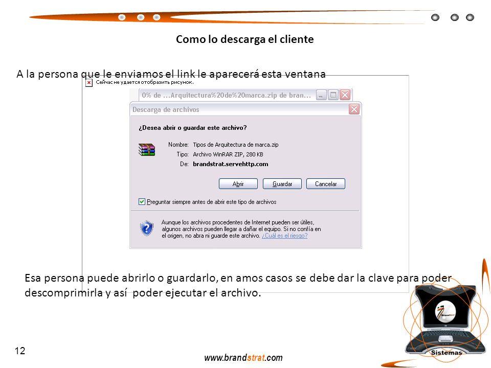 www.brandstrat.com Como lo descarga el cliente A la persona que le enviamos el link le aparecerá esta ventana Esa persona puede abrirlo o guardarlo, e