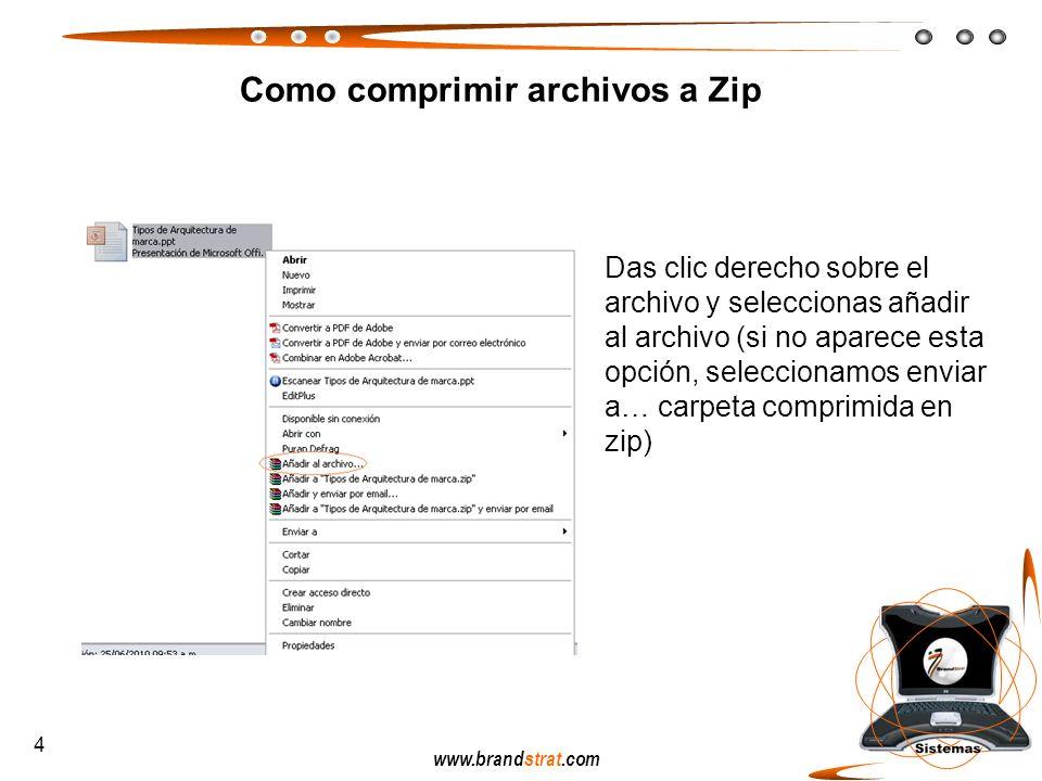 www.brandstrat.com Como comprimir archivos a Zip Das clic derecho sobre el archivo y seleccionas añadir al archivo (si no aparece esta opción, selecci