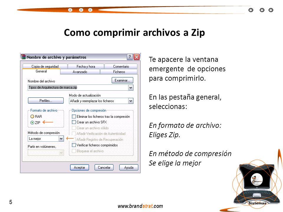 www.brandstrat.com Como comprimir archivos a Zip Te apacere la ventana emergente de opciones para comprimirlo. En las pestaña general, seleccionas: En