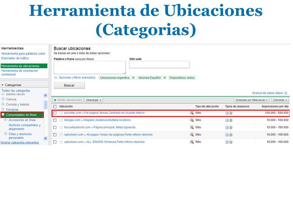 Herramienta de Ubicaciones (Categorias)