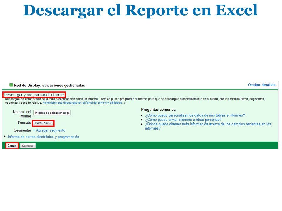 Descargar el Reporte en Excel
