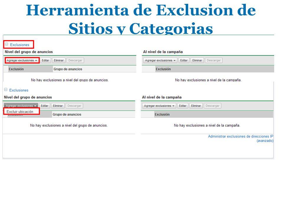 Herramienta de Exclusion de Sitios y Categorias