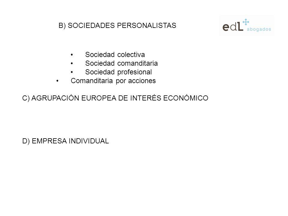Sociedad colectiva Sociedad comanditaria Sociedad profesional Comanditaria por acciones B) SOCIEDADES PERSONALISTAS C) AGRUPACIÓN EUROPEA DE INTERÉS ECONÓMICO D) EMPRESA INDIVIDUAL