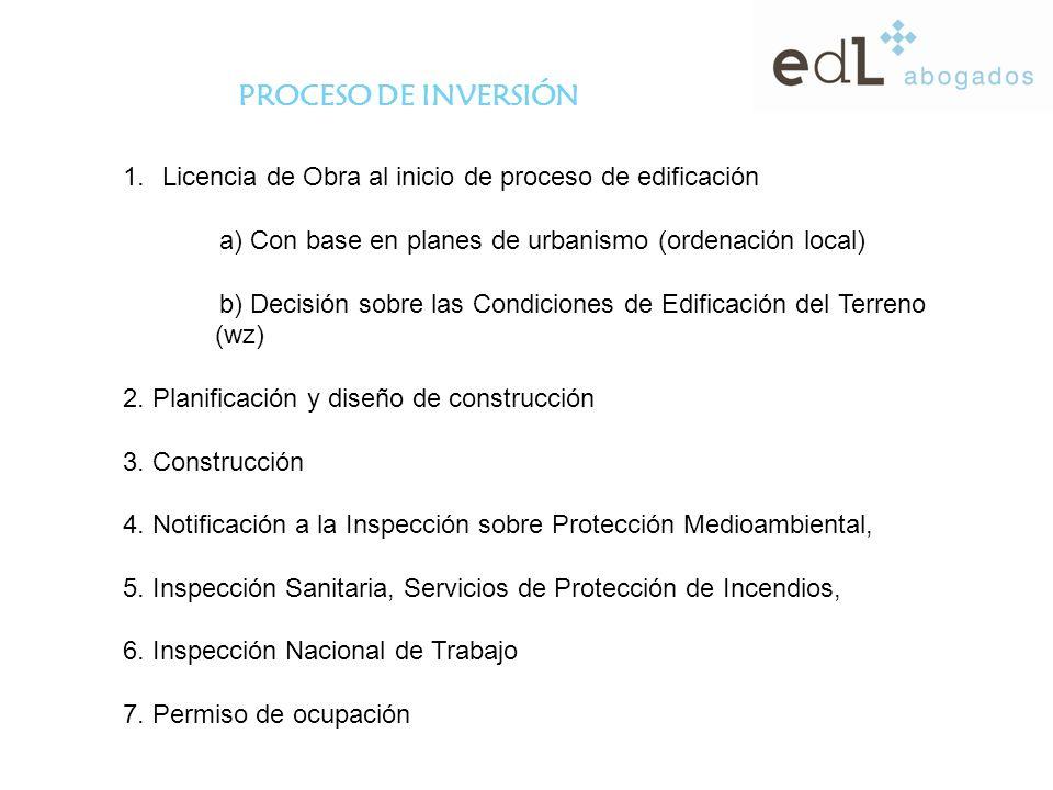 PROCESO DE INVERSIÓN 1.Licencia de Obra al inicio de proceso de edificación a) Con base en planes de urbanismo (ordenación local) b) Decisión sobre las Condiciones de Edificación del Terreno (wz) 2.