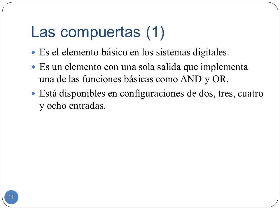 Las compuertas (1) 11 Es el elemento básico en los sistemas digitales. Es un elemento con una sola salida que implementa una de las funciones básicas