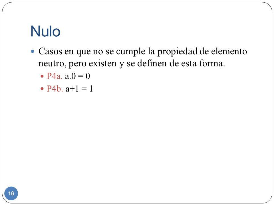 Nulo 16 Casos en que no se cumple la propiedad de elemento neutro, pero existen y se definen de esta forma. P4a. a.0 = 0 P4b. a+1 = 1