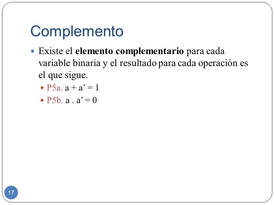 Complemento 17 Existe el elemento complementario para cada variable binaria y el resultado para cada operación es el que sigue. P5a. a + a = 1 P5b. a.