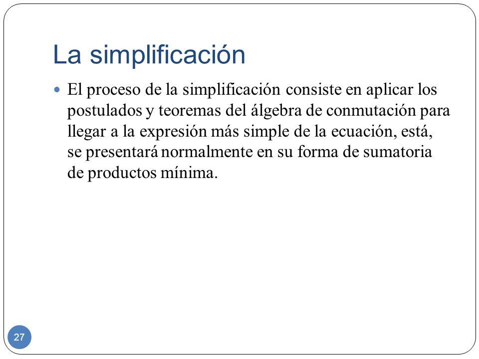 La simplificación 27 El proceso de la simplificación consiste en aplicar los postulados y teoremas del álgebra de conmutación para llegar a la expresi
