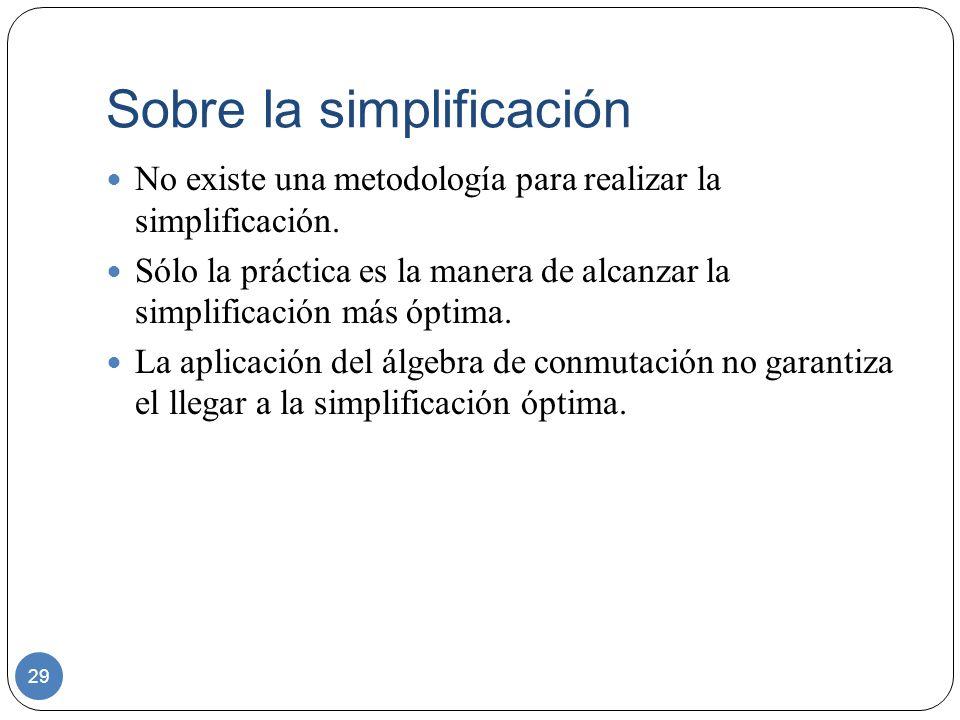 Sobre la simplificación 29 No existe una metodología para realizar la simplificación. Sólo la práctica es la manera de alcanzar la simplificación más