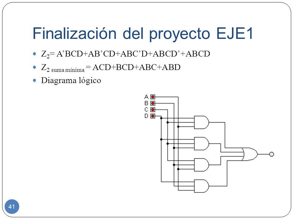 Finalización del proyecto EJE1 41 Z 2 = ABCD+ABCD+ABCD+ABCD+ABCD Z 2 suma mínima = ACD+BCD+ABC+ABD Diagrama lógico