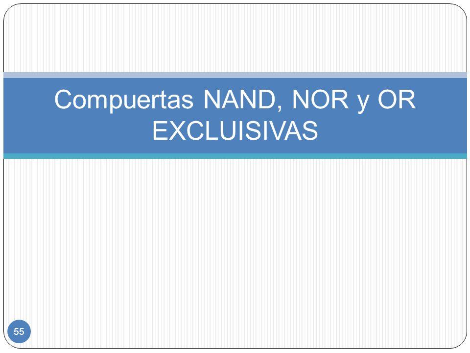 55 Compuertas NAND, NOR y OR EXCLUISIVAS