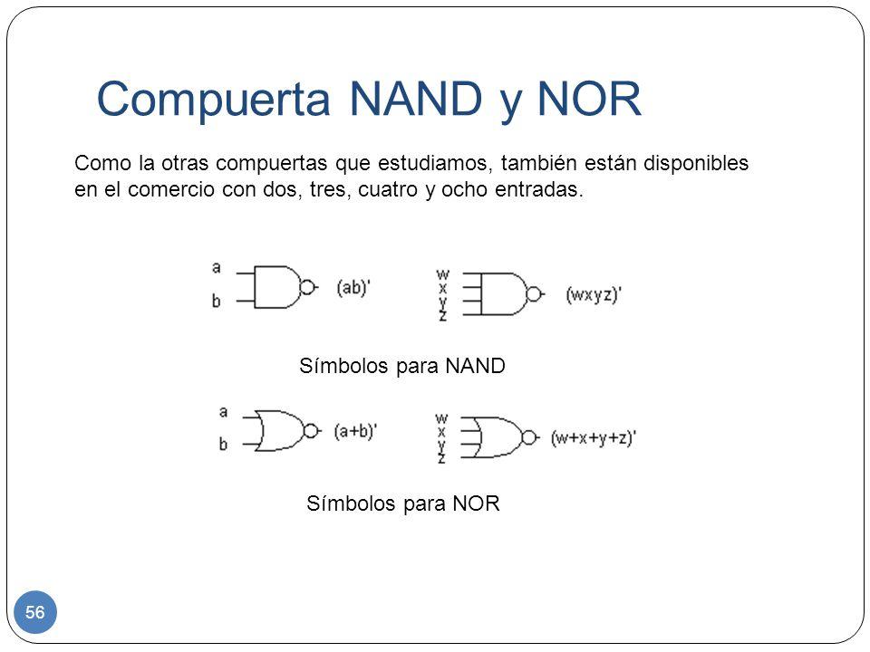 Compuerta NAND y NOR 56 Como la otras compuertas que estudiamos, también están disponibles en el comercio con dos, tres, cuatro y ocho entradas. Símbo