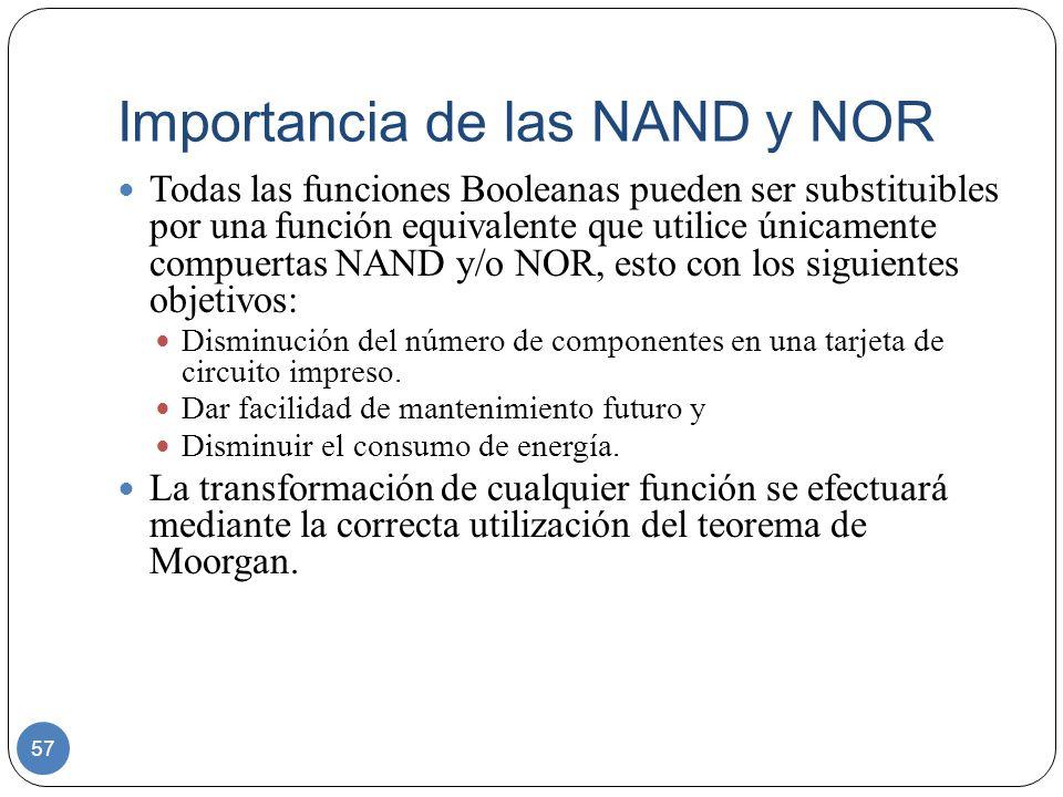 Importancia de las NAND y NOR 57 Todas las funciones Booleanas pueden ser substituibles por una función equivalente que utilice únicamente compuertas