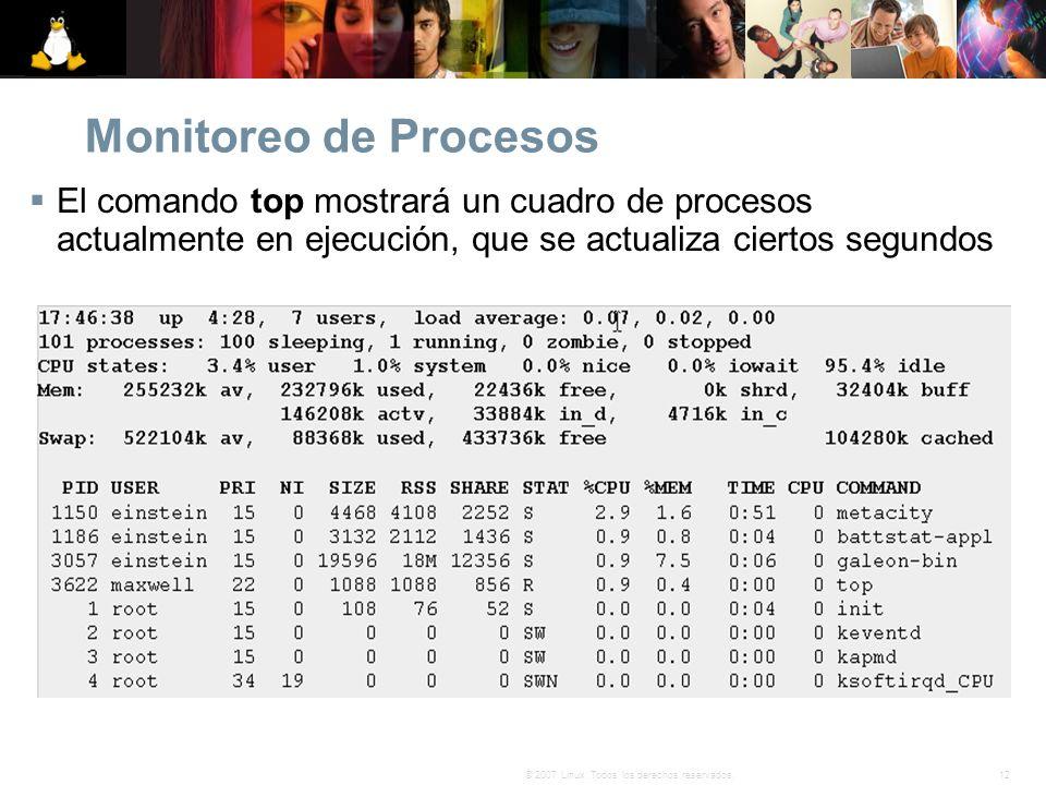 12© 2007 Linux. Todos los derechos reservados. Monitoreo de Procesos El comando top mostrará un cuadro de procesos actualmente en ejecución, que se ac