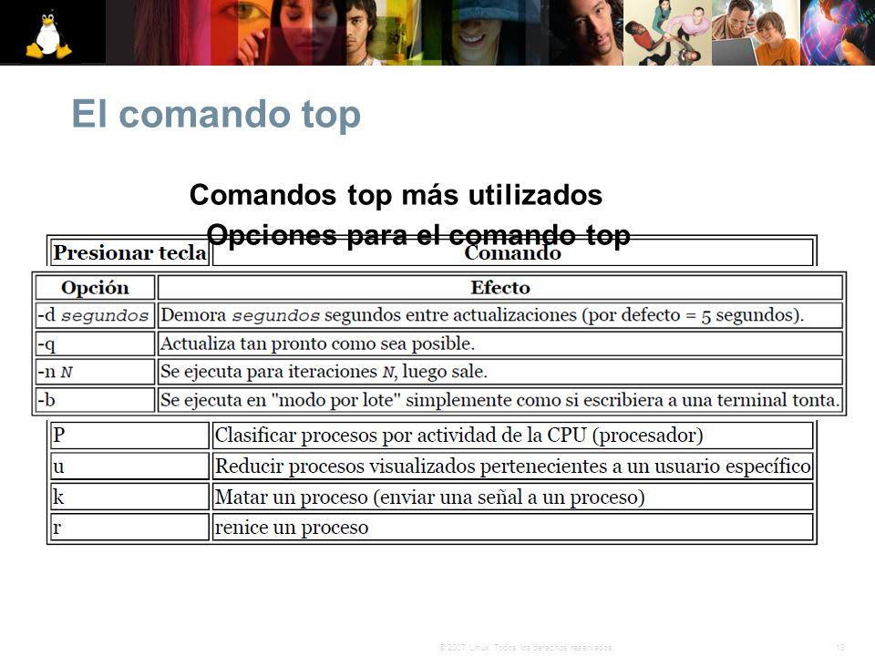 13© 2007 Linux. Todos los derechos reservados. El comando top Comandos top más utilizados Opciones para el comando top