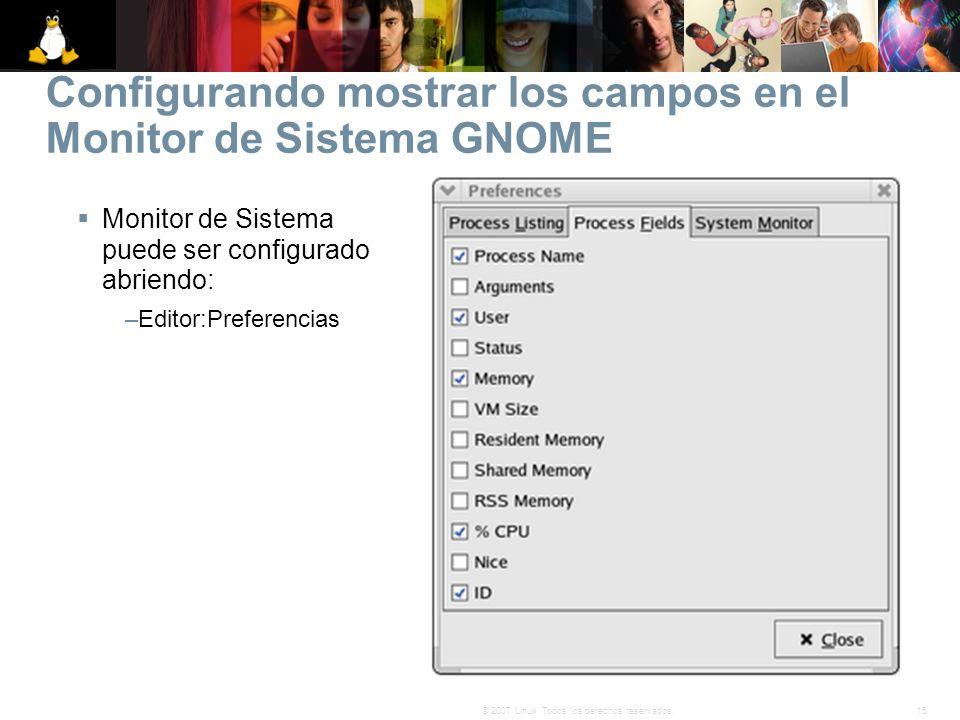 15© 2007 Linux. Todos los derechos reservados. Configurando mostrar los campos en el Monitor de Sistema GNOME Monitor de Sistema puede ser configurado
