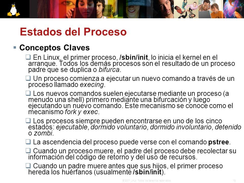 18© 2007 Linux. Todos los derechos reservados. Estados del Proceso Conceptos Claves En Linux, el primer proceso, /sbin/init, lo inicia el kernel en el