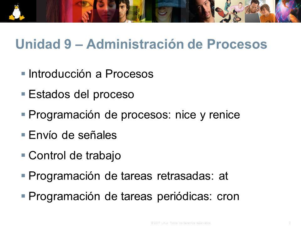 2© 2007 Linux. Todos los derechos reservados. Unidad 9 – Administración de Procesos Introducción a Procesos Estados del proceso Programación de proces