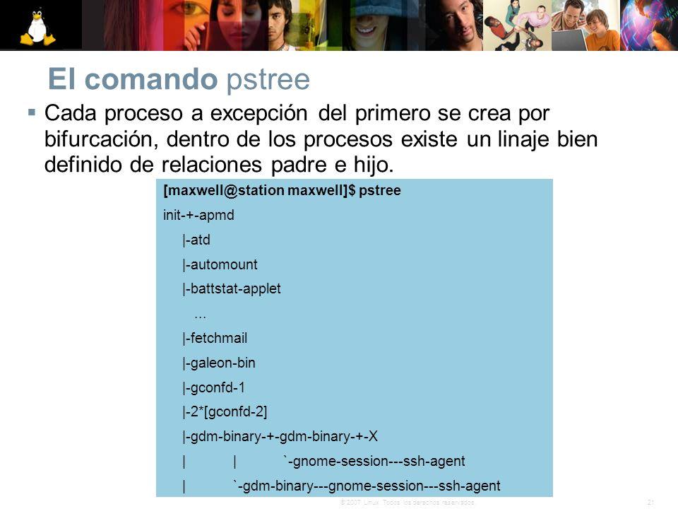 21© 2007 Linux. Todos los derechos reservados. El comando pstree Cada proceso a excepción del primero se crea por bifurcación, dentro de los procesos