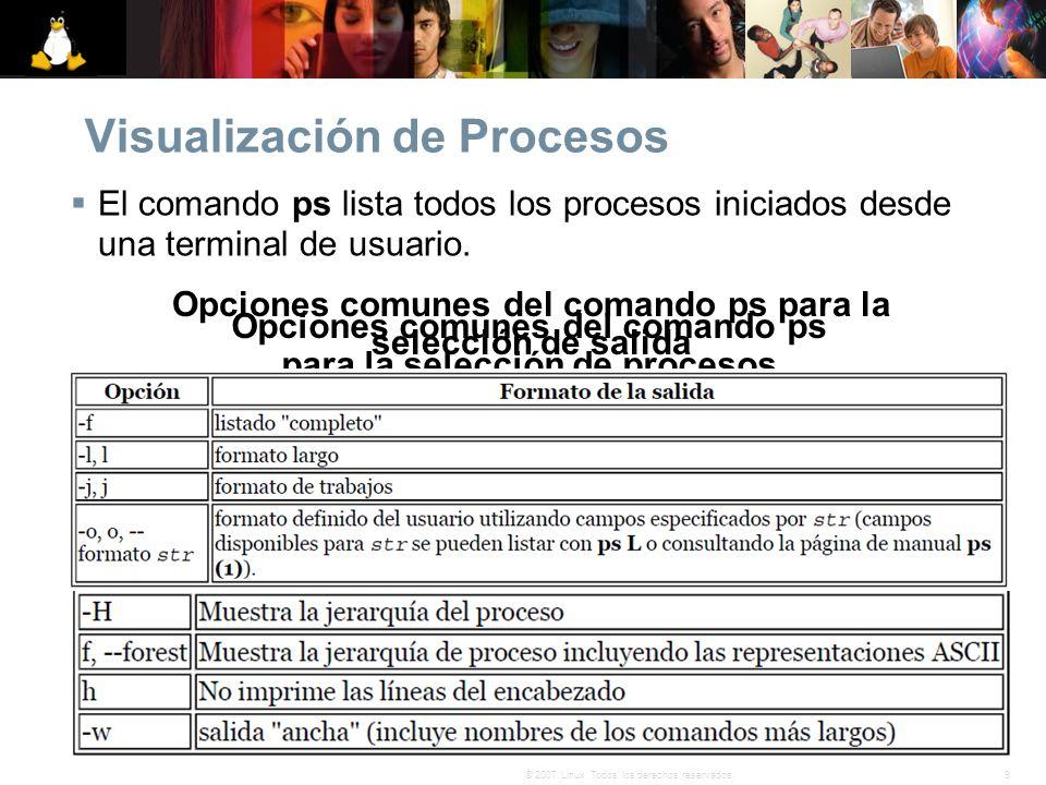 9© 2007 Linux. Todos los derechos reservados. Visualización de Procesos El comando ps lista todos los procesos iniciados desde una terminal de usuario