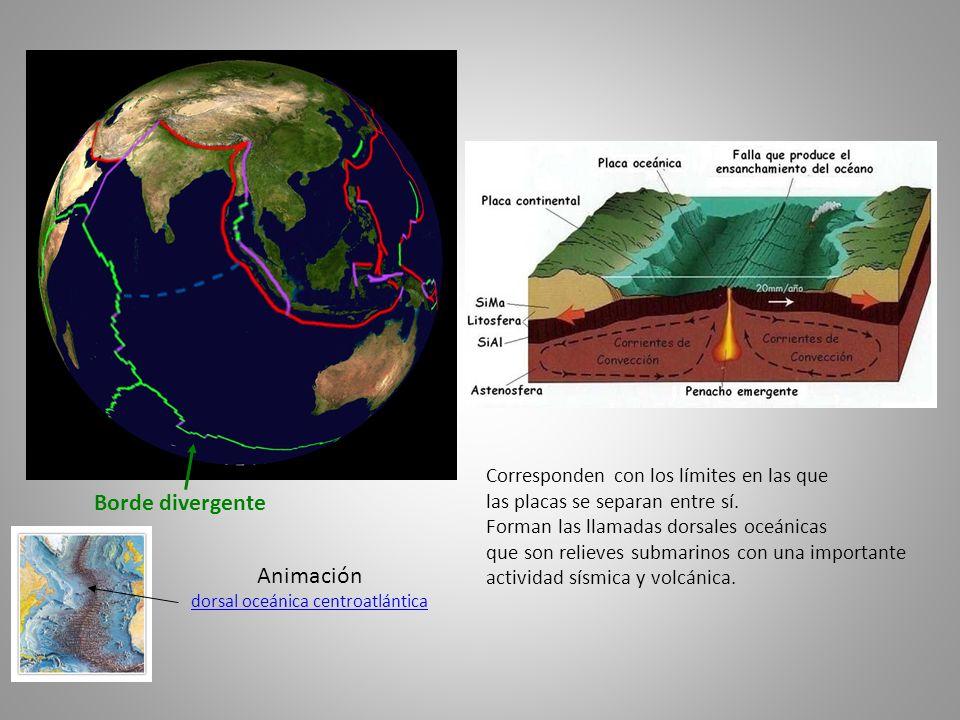 Borde divergente Corresponden con los límites en las que las placas se separan entre sí. Forman las llamadas dorsales oceánicas que son relieves subma