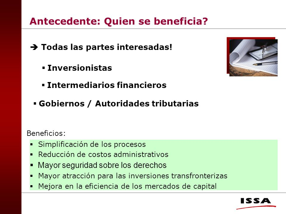 Antecedente: Quien se beneficia.