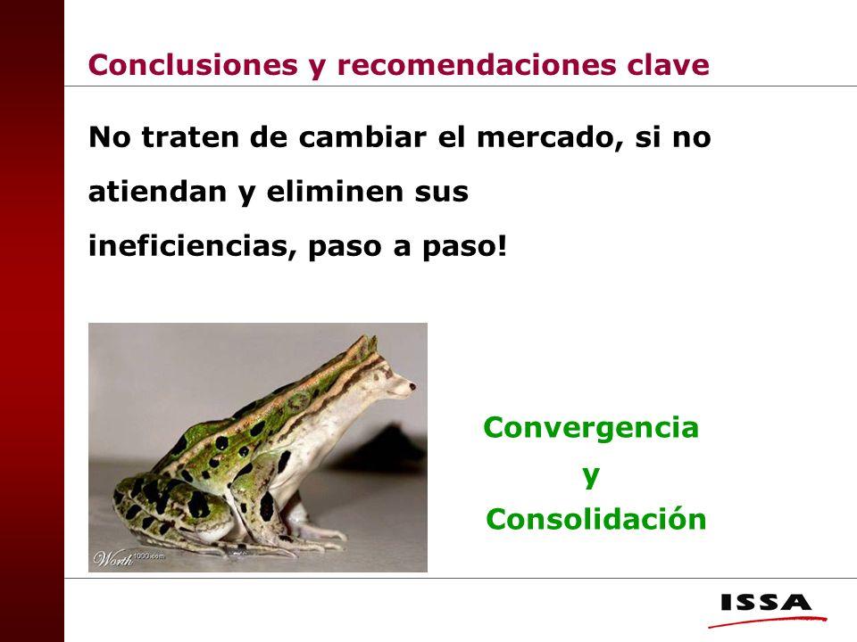 Conclusiones y recomendaciones clave No traten de cambiar el mercado, si no atiendan y eliminen sus ineficiencias, paso a paso.