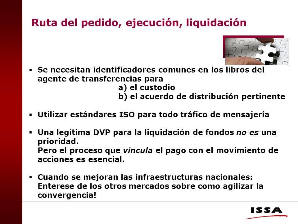 Se necesitan identificadores comunes en los libros del agente de transferencias para a) el custodio b) el acuerdo de distribución pertinente Utilizar estándares ISO para todo tráfico de mensajería Una legítima DVP para la liquidación de fondos no es una prioridad.