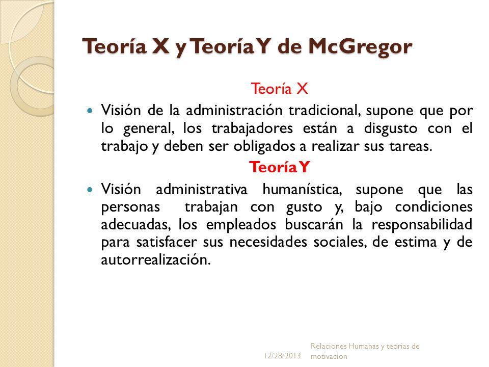 Teoría X y Teoría Y de McGregor Teoría X Visión de la administración tradicional, supone que por lo general, los trabajadores están a disgusto con el