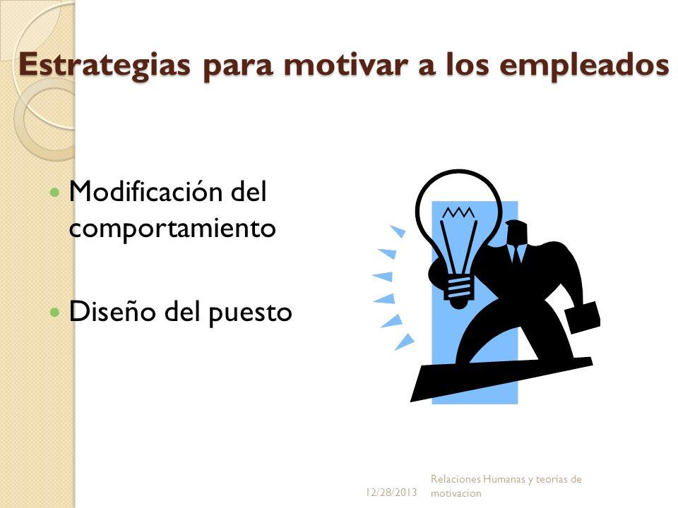 Estrategias para motivar a los empleados Modificación del comportamiento Diseño del puesto 12/28/2013 Relaciones Humanas y teorias de motivacion