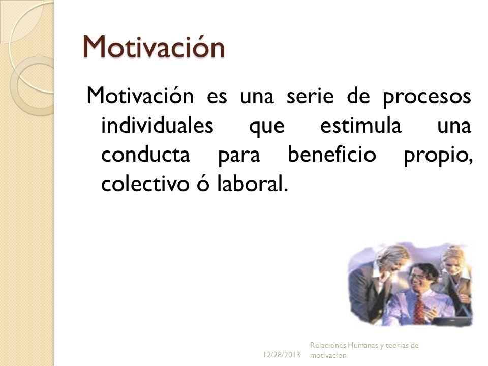 Motivación Motivación es una serie de procesos individuales que estimula una conducta para beneficio propio, colectivo ó laboral. 12/28/2013 Relacione