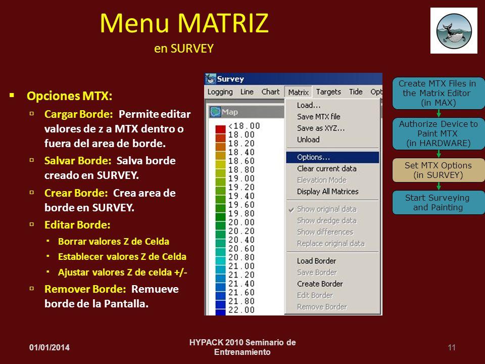 Opciones MTX: Cargar Borde: Permite editar valores de z a MTX dentro o fuera del area de borde. Salvar Borde: Salva borde creado en SURVEY. Crear Bord
