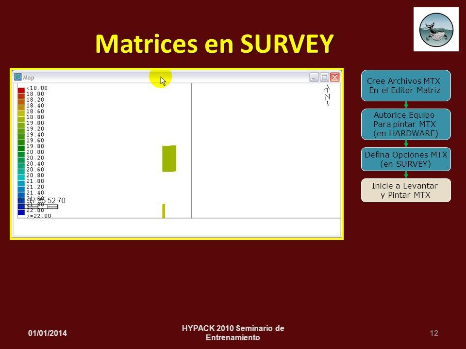 01/01/201412 HYPACK 2010 Seminario de Entrenamiento Matrices en SURVEY Cree Archivos MTX En el Editor Matriz Autorice Equipo Para pintar MTX (en HARDW