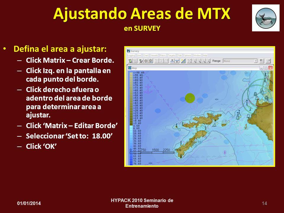 Defina el area a ajustar: – Click Matrix – Crear Borde. – Click Izq. en la pantalla en cada punto del borde. – Click derecho afuera o adentro del area