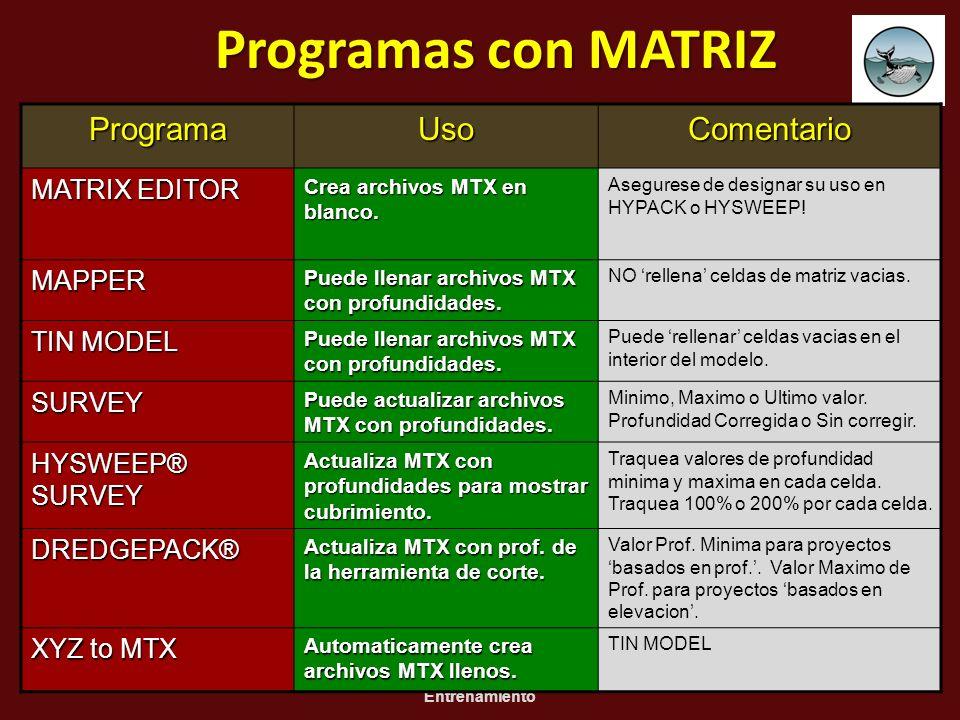 01/01/20143 HYPACK 2010 Seminario de Entrenamiento Programas con MATRIZ ProgramaUsoComentario MATRIX EDITOR Crea archivos MTX en blanco. Asegurese de