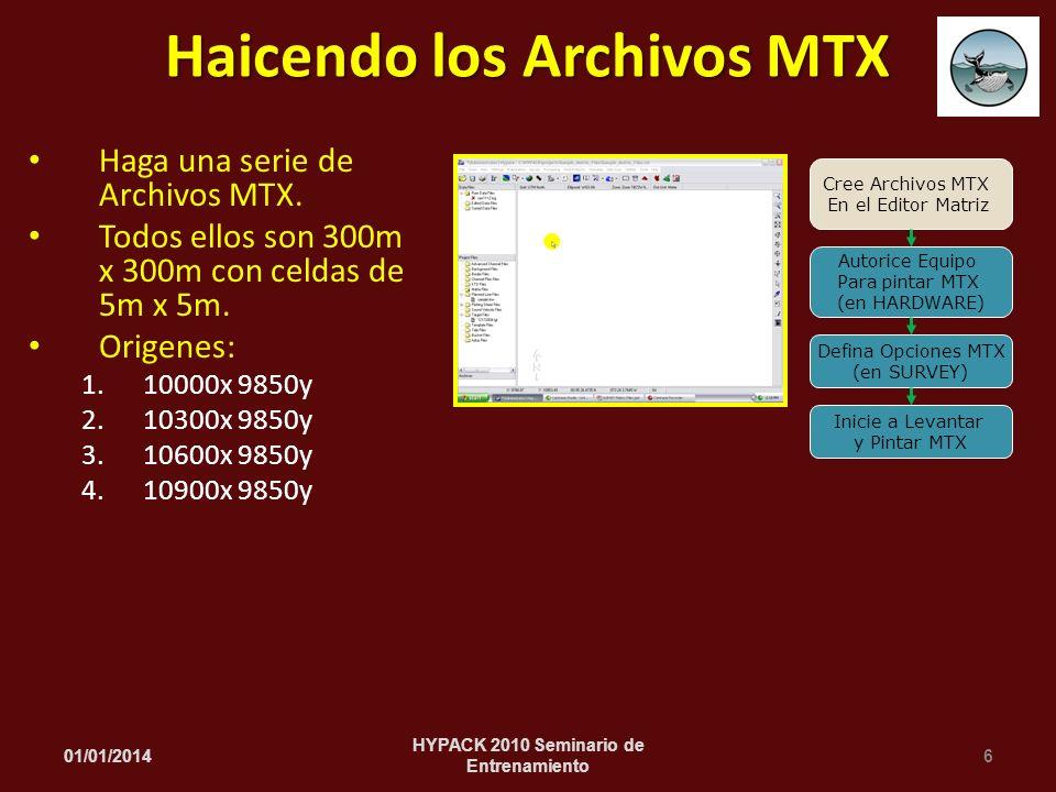 Haga una serie de Archivos MTX. Todos ellos son 300m x 300m con celdas de 5m x 5m. Origenes: 1.10000x 9850y 2.10300x 9850y 3.10600x 9850y 4.10900x 985