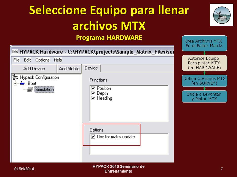 01/01/20147 HYPACK 2010 Seminario de Entrenamiento Seleccione Equipo para llenar archivos MTX Programa HARDWARE Cree Archivos MTX En el Editor Matriz