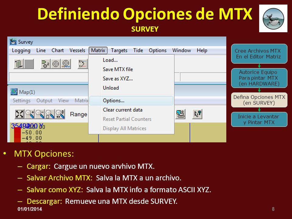 MTX Opciones: – Cargar: Cargue un nuevo arvhivo MTX. – Salvar Archivo MTX: Salva la MTX a un archivo. – Salvar como XYZ: Salva la MTX info a formato A