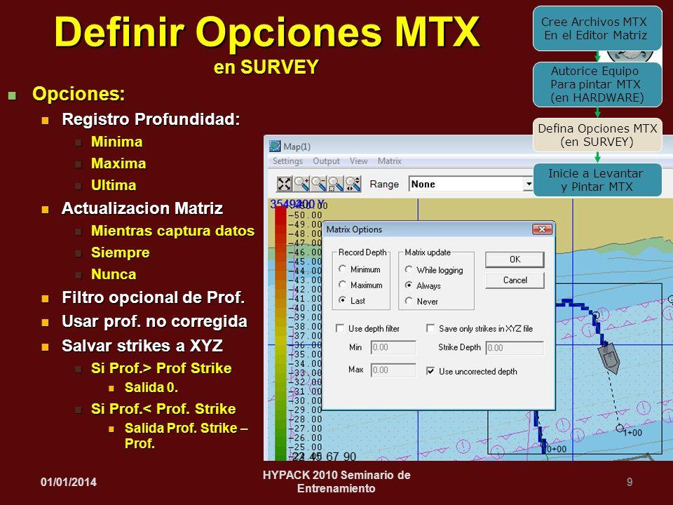01/01/20149 HYPACK 2010 Seminario de Entrenamiento Definir Opciones MTX en SURVEY Opciones: Opciones: Registro Profundidad: Registro Profundidad: Mini