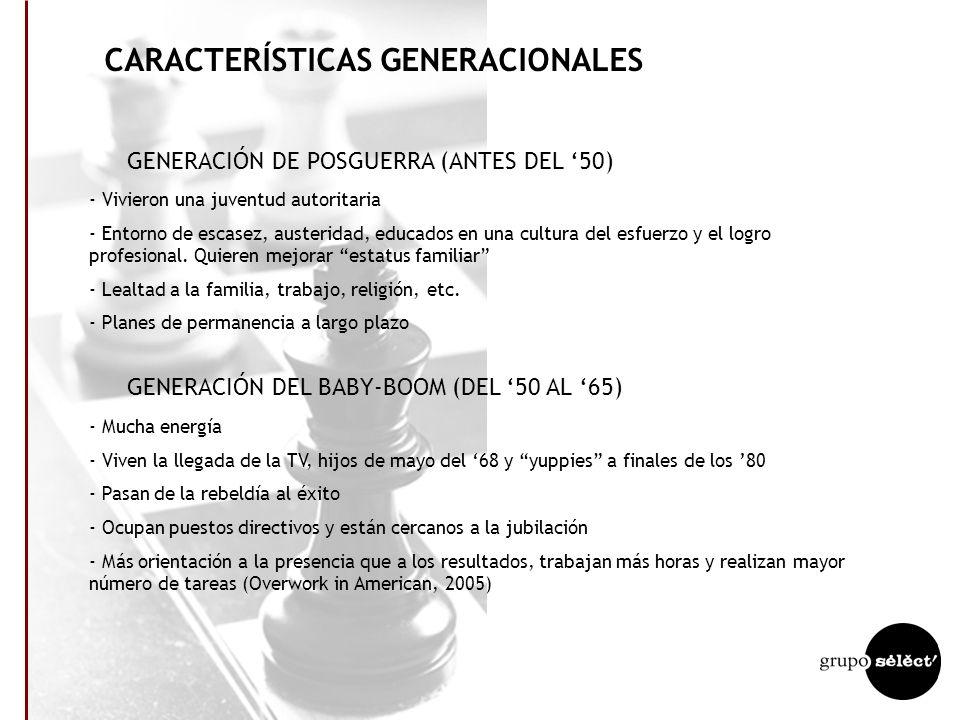 CARACTERÍSTICAS GENERACIONALES GENERACIÓN DE POSGUERRA (ANTES DEL 50) - Vivieron una juventud autoritaria - Entorno de escasez, austeridad, educados en una cultura del esfuerzo y el logro profesional.