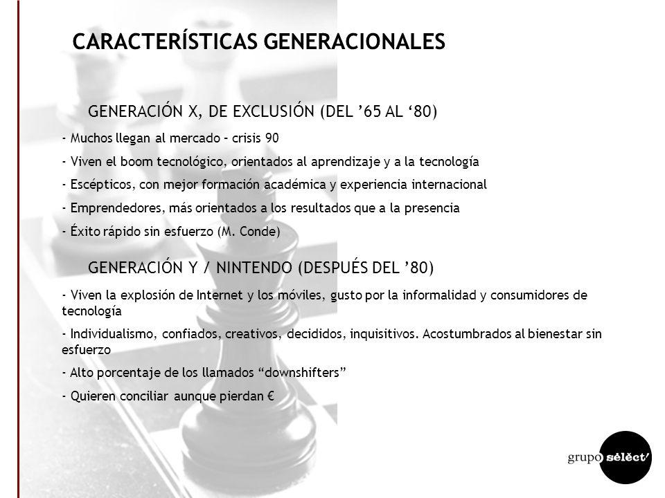 CARACTERÍSTICAS GENERACIONALES GENERACIÓN DE POSGUERRA (ANTES DEL 50) - Vivieron una juventud autoritaria - Entorno de escasez, austeridad, educados e