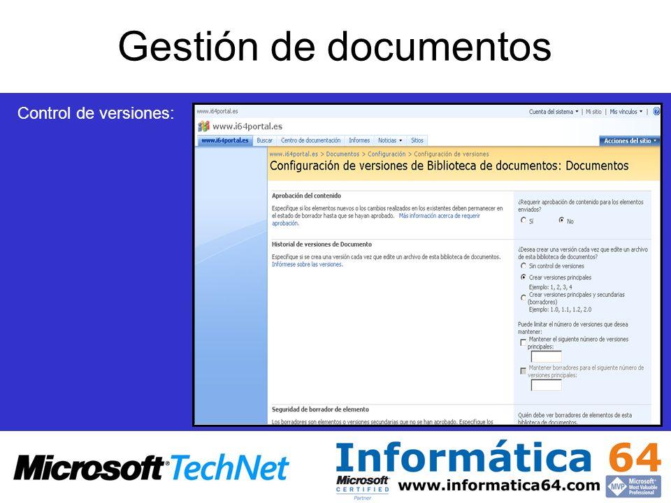 Gestión de documentos Control de versiones: