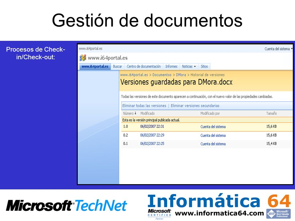 Gestión de documentos Procesos de Check- in/Check-out: